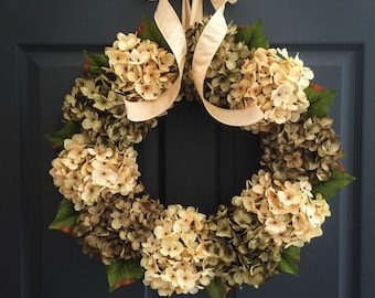 Green & Cream Hydrangea Wreath | SPRING WREATH | Front Door Wreaths | Door Wreath | Summer Wreath | Housewarming Gift Ideas