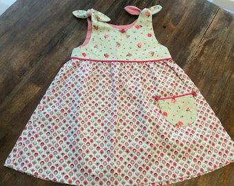 Cotton toddler dress, Size 12 months,  with shoulder ties
