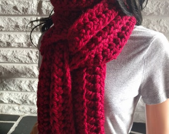 Women's chunky oversized scarf, cranberry red scarf, red winter scarf, gifts for her, accessories, fall, winter and spring fashion