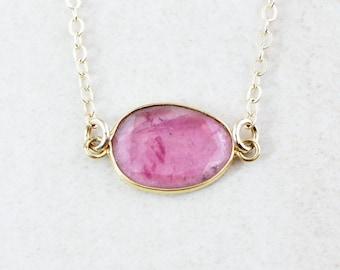 Rose Pink Tourmaline Necklace - Tourmaline Jewelry - 14K GF