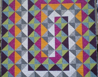 Large Lap Quilt in Plum/Tangerine/Teal/Fushia/Yellow Green/Black/White/Gray Triangles