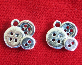 "BULK! 30pc ""button"" charms in antique silver style (BC729B)"
