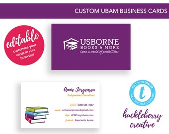 Usborne Books & More Business Cards, Usborne Independent Consultant, UBAM, 3.5x2, Instant Edits and Digital Download within Minutes!
