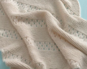 Cashmere Knit Baby Blanket / Knitted Baby Blanket Off White Cream