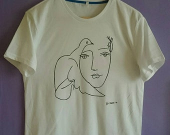 Picasso Woman with Dove Sketch T Shirt