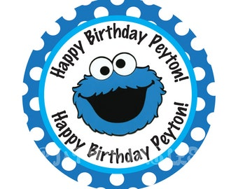 Cookie Monster Polka dot Cupcake Toppers- Customized Digital File