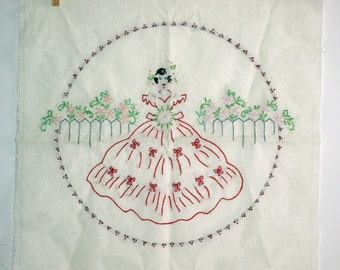 Vintage Pillow Top Embroidered Square Pillow Top - Unfinished Ready to be Quilted