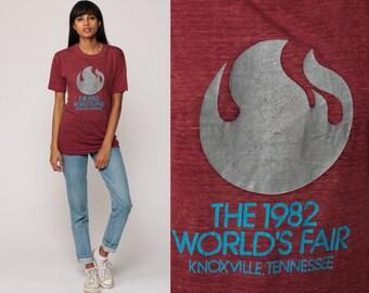 80s Shirt Graphic Tee 1982 WORLD'S FAIR Tshirt Knoxville Tennessee Tee Vintage Retro T Shirt 1980s Burgundy Plum Print Medium
