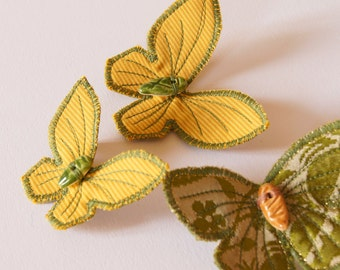 Textile Butterfly Hairclips Insect Entomology Natural History Woodland Fashion Accessory Free Shipping