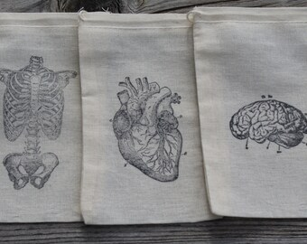 Set of 12 Hand stamped Halloween Human Anatomy Muslin Party Favor Bags 100% organic made in america