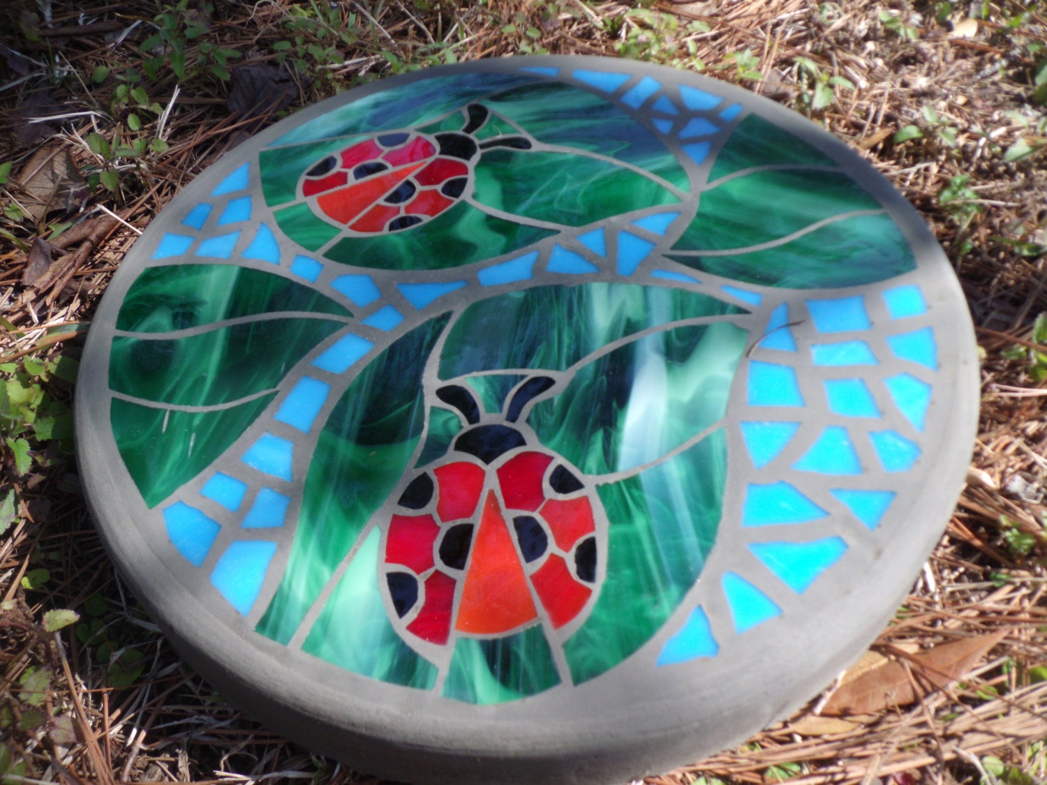 Mosaic Stone Cement : Ladybug friends handmade stained glass and concrete mosaic