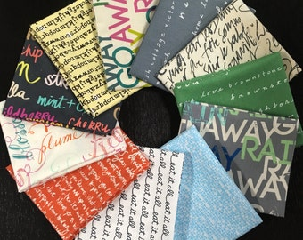 Modern Word Text Curated Fat Quarter Bundle - Curated Collection from Needle in a Fabric Stash - 11 Fat Quarters