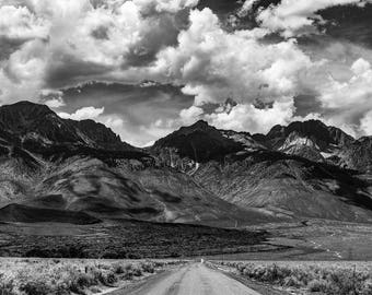 Road leading to the Sierra Nevada Mountains