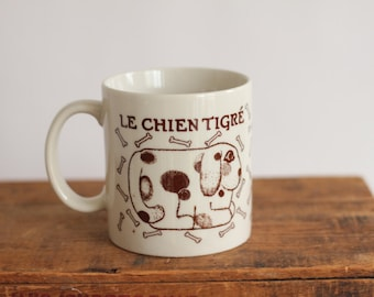 Silly Le Chien Tigré Animal dog bones canine pet illustrated French Japan Tea Coffee Mug Vintage
