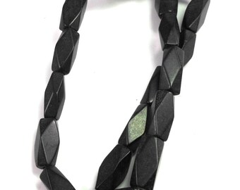 CLEARANCE SALE Matte Blackstone Stone Beads, Faceted Rectangles, Full Strand, Black Tube Beads, 20mm Rectangle, Jewelry Making, Supplies