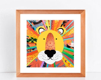 lion art limited edition print of original paper collage - rainbow colourful, wild animal sarafi nursery art jungle, nursery decor, boy girl