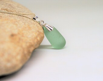 Sea Glass Necklace,Seaglass Necklace,Green Seaglass,Seaham Seaglass,Bottle Stopper,Genuine English Seaglass,Jewellery Gift,Handmade Jewelry