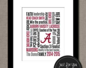 Coach Gift - Team Gift - Teacher Gift - Retirement Gift - Custom Subway Art Design - Typography, Word Art, Wordle - YOU PRINT