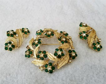 Vintage Brooch and Clip on Earring Set