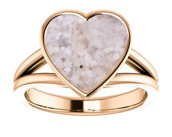 14k Rose Gold Cremation Ring - Rose Gold Heart Ring - Cremation Jewelry - Ash Ring - Ash Jewelry - Urn Ring - Urn Jewelry - Pet Loss