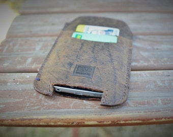 Handmade Real Leather Smart Phone Pouch iPhone/Samsung/HTC/Sony/LG/Nokia/Blackberry by Ebb Flow