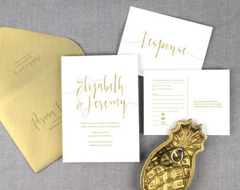 gold wedding invitations, modern gold wedding invitation, script lettering , gold and white wedding invitation, printed invitations