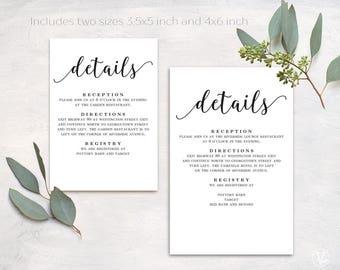 Wedding Details Card, Printable Details Card Template, Simple Details Card, Information Card, D03