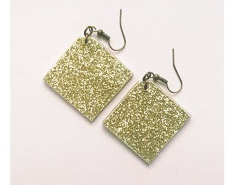 Earrings with glitter, golden earrings, geometric earrings, glitter earrings, geometric earrings