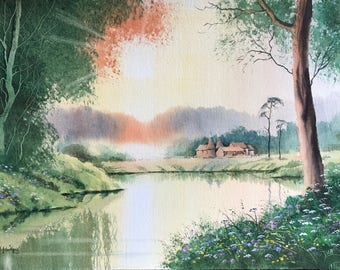 Kent evening, kent, river paintings, rivers, oasthouses, sunsets, foreground foliage, watercolor landscape, original watercolour,  trees.