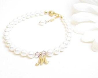 Gold Flower Girl Bracelet - Personalized Flower Girl Bracelet - Flower Girl Gold Initial Bracelet - Flower Girl Gift - Custom Flower Girl