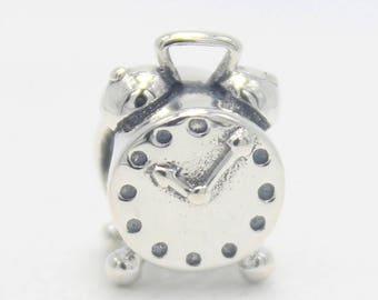 Alarm Clock Charm, 100% 925 Sterling Silver Charm Fits to all Pandora Charm Bracelets, European DIY, Bracelets, Necklaces