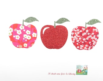 Applique liberty fusing 3 apples fabric liberty Mitsi hot pink Mitsi valeria flex red glitter iron on patch applique Apple