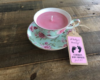 Customized Teacup Soy Candle for Wedding, Baby Shower, Bridal Shower, Bridesmaid, Birthday & Mother's Day