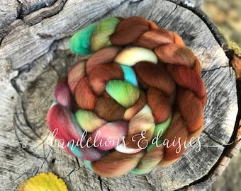 September SAL  - hand dyed BFL comb top - Spinning Fiber - Hand Dyed Wool