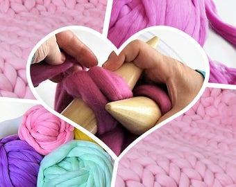 Giant knit KIT-extreme knitting kit-LEVEL BEGINNER + instructions how to knit giant blankets in 4 different sizes-perfect mother's day gift.