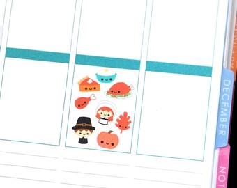 Happy Thanksgiving Stickers Erin Condren Life Planner ECLP Mambi Midori Kikkik Personal A5 Kawaii Cute Funny Turkey Pumpkin Pie