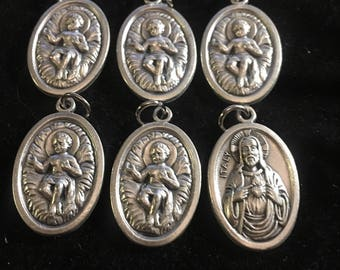 BABY JESUS in crib with Sacred Heart of Jesus Set of 6 Medals Christian Charm Pendants