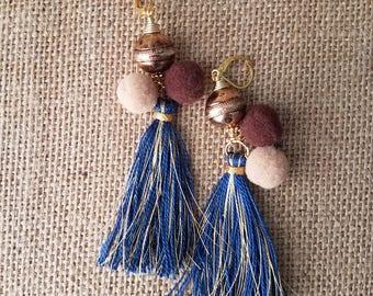 Tassel earring, turquoise earring, turquoise post earring, gold earring, dangle post earring, tassel earring