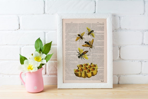 Bees Print on Dictionary Book page - Bees and honey Art on Upcycled Dictionary Book - Wall Art Home Decor BFL002