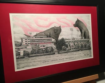 """North Carolina State Carter-Finley Stadium 11""""x17"""" pen and ink print with hand-colored wolves"""