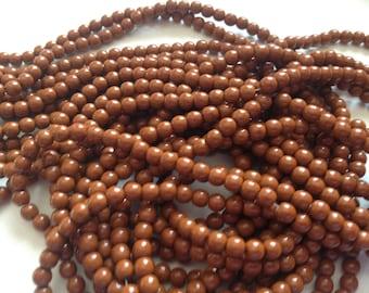 Sale!!! Czech Glass Druk Beads (100) 4mm Beads Brown Umber, 4mm Round Glass Druks, Jewelry Supplies