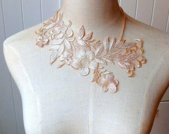gold cream pnk sheer floral lace bib necklace - bib statement necklace - victorian wedding bridal necklace / lace jewelry /  gift for her