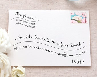 Hand-Lettered Wave Address Labels Bundle | Printable Mailing Labels Templates for Wedding Invitations and Announcements