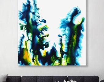 Hexa - Original  High Flow Art Acrylic Painting on Canvas - Abstract Home Decor