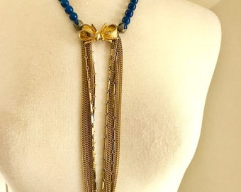 Beautiful Gold Necklace Chain,  Antique Necklace,  Multi Chain Necklace, Blue Pearls, Long Necklace