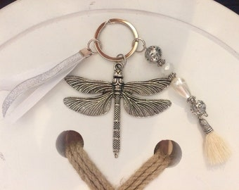 Keychain with dragonfly, beads, ribbons and tassel
