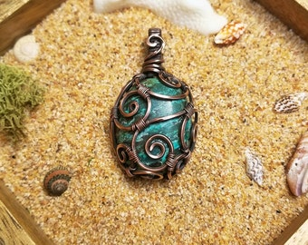 Swirly Boho Chic Turquoise Wire Wrapped Pendant