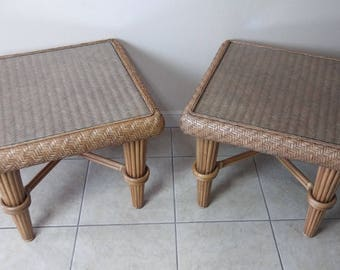 Braxton Culler Honey Rattan End Tables Set of 2 SHIPPING NOT INCLUDED