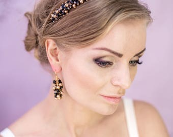 Black and Gold Dolce Headband - Classic Pearls Headband - Anniversary Gift for Mother's Day - Dolce Crown Black Crystals
