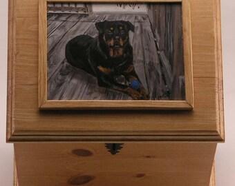 Pet urn, memorial box, large pet urn, custom portrait of pet on memorial box, oversized urn to hold pet leash pet toy